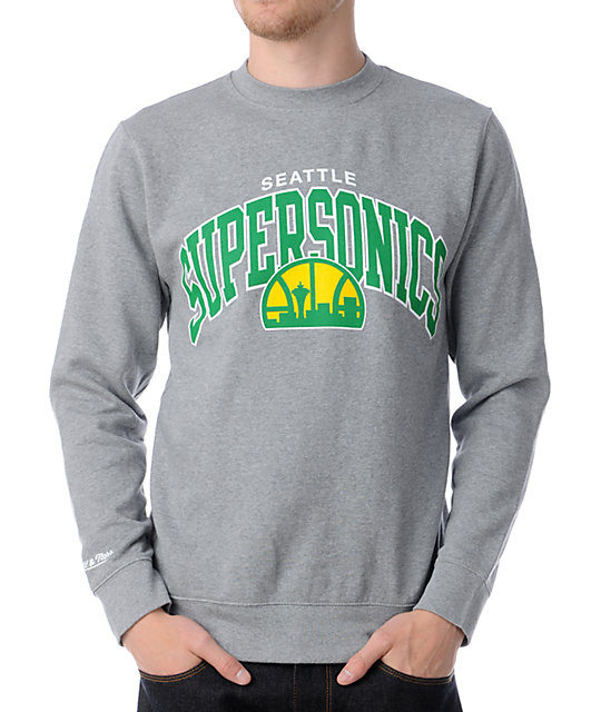 NBA Mitchell and Ness Seattle SuperSonics Arch Crew Neck Sweatshirt