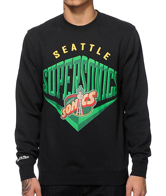 73f8514c7b8 NBA Mitchell and Ness Sonics Beveled Crew Neck Sweatshirt