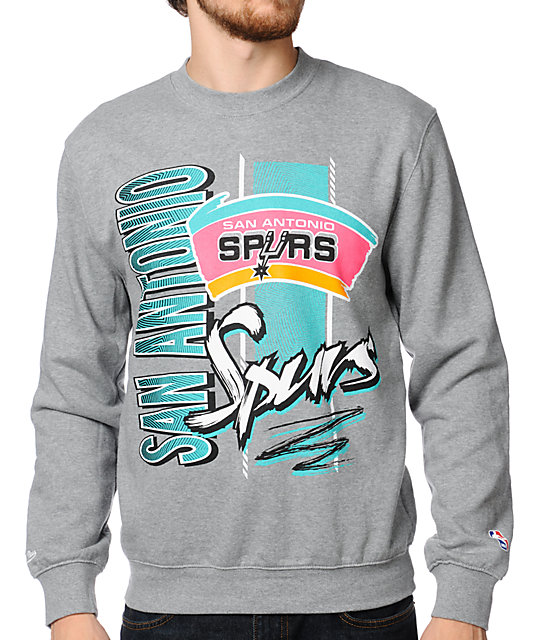 NBA Mitchell and Ness Spurs Zip Zag Grey Crew Neck Sweatshirt