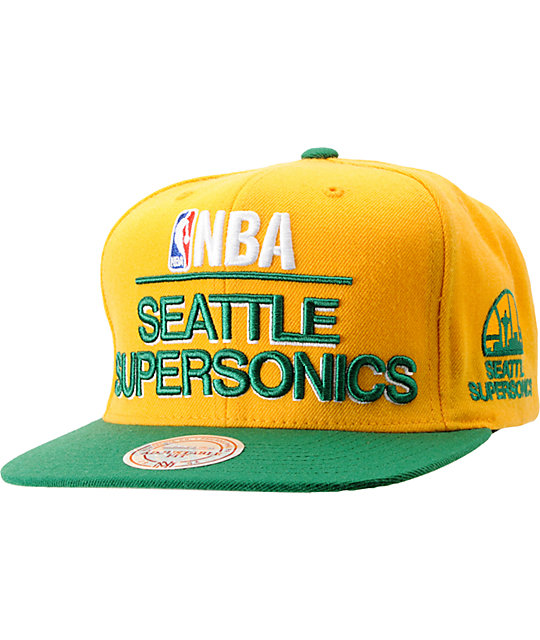 NBA Mitchell and Ness Supersonics Media Day Snapback Hat