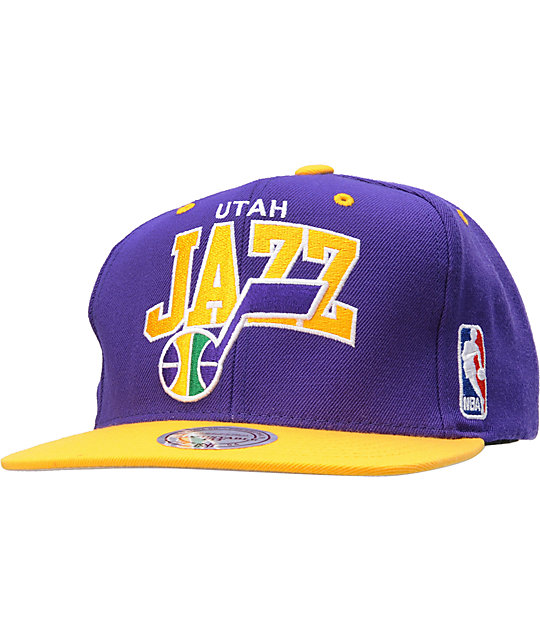 NBA Mitchell and Ness Utah Jazz Arch Snapback Hat  8b4defe54445