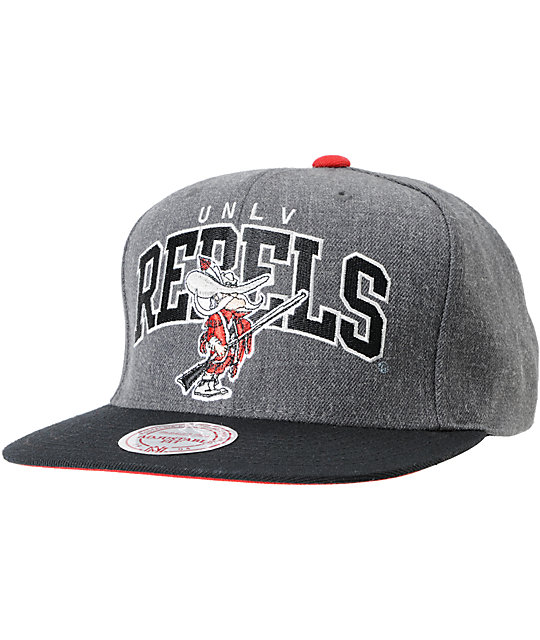 NCAA Mitchell and Ness UNLV Rebels Black & Grey Snapback Hat