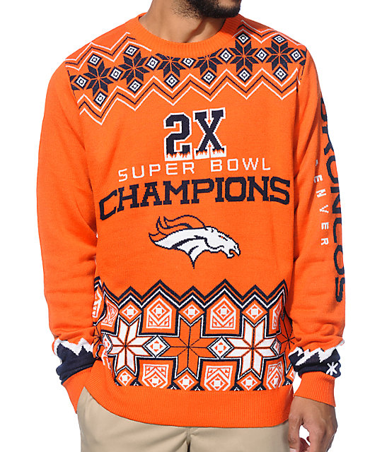 best website 64fea 1ec62 NFL Forever Collectibles Broncos Super Bowl Sweater