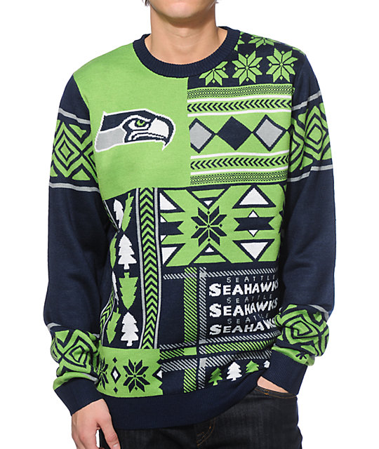 sports shoes e48fb fd11b NFL Forever Collectibles Seahawks Patches Sweater