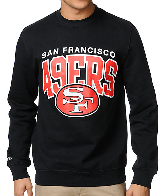 NFL Mitchell   Ness San Francisco 49ers Black Crew Neck Sweatshirt ... 8882cae02
