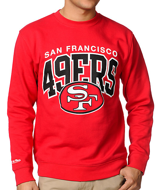 NFL Mitchell & Ness San Francisco 49ers Red Crew Neck Sweatshirt