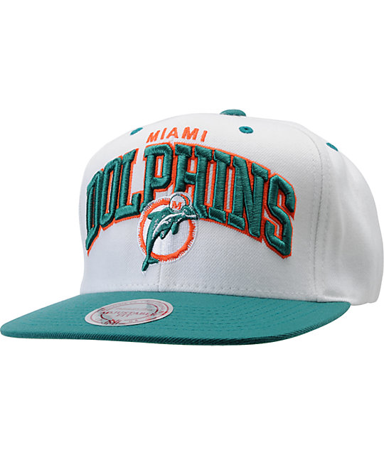 8a666eb3a NFL Mitchell And Ness Miami Dolphins White Snapback Hat | Zumiez