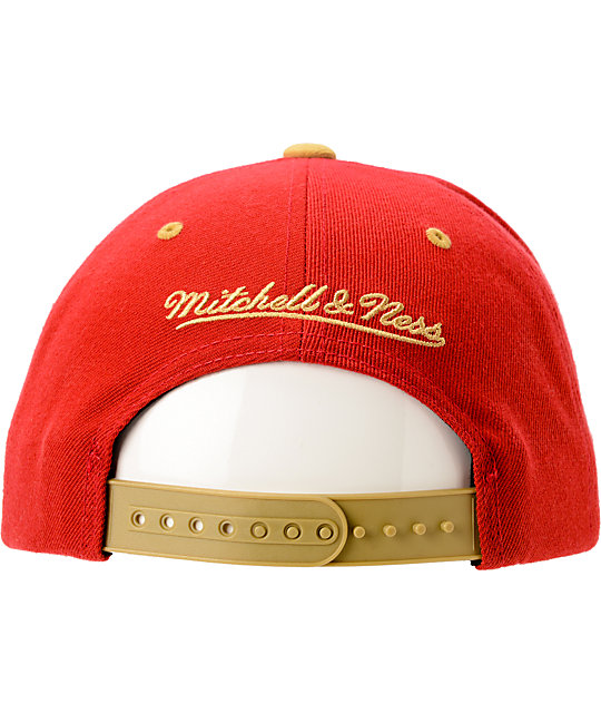 NFL Mitchell and Ness 49ers Arch Helmet 2Tone Red Snapback Hat