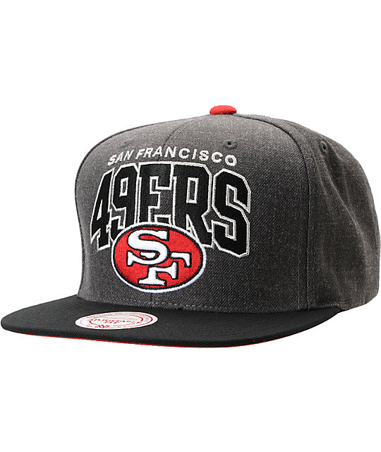 NFL Mitchell and Ness 49ers Arch Logo Grey Snapback Hat