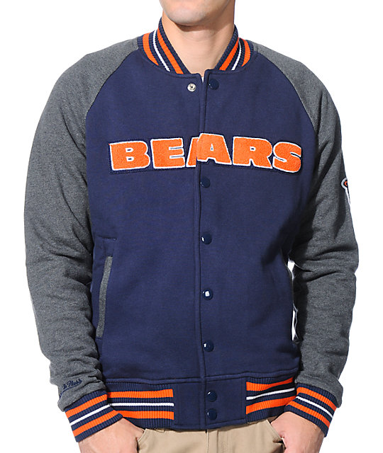 ea4ba1c67b4 NFL Mitchell and Ness Bears Backward Pass Blue Jacket