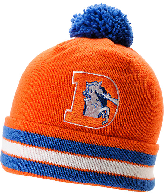 21c15c18dfef0 NFL Mitchell and Ness Denver Broncos Pom Orange Beanie