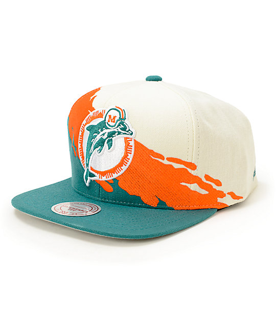 ab85a1d64 NFL Mitchell and Ness Dolphins Paintbrush Snapback Hat