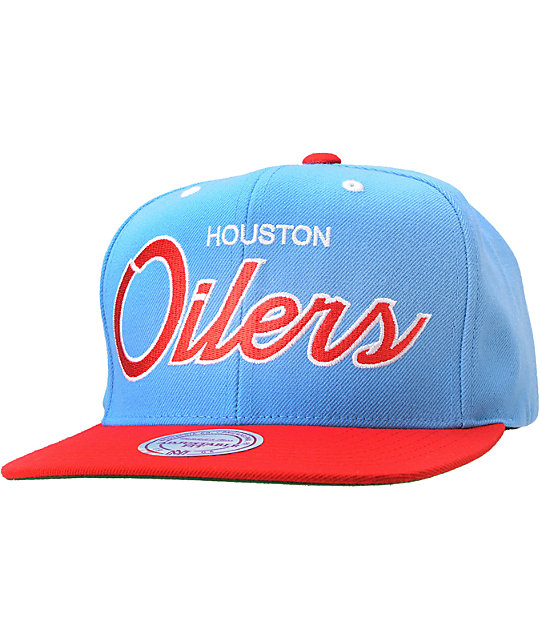 NFL Mitchell and Ness Houston Oilers Blue Snapback Hat  c875312a3c1d