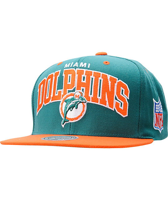 780af916fcafd NFL Mitchell and Ness Miami Dolphins Snapback Hat