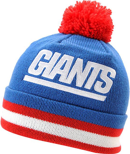 b4621cdee6efc7 NFL Mitchell and Ness New York Giants Pom Blue Beanie | Zumiez