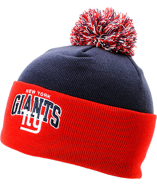 56f6dfcea4beaf NFL Mitchell and Ness New York Giants Pom Beanie | Zumiez