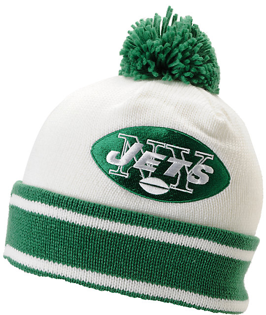 NFL Mitchell and Ness New York Jets Pom Beanie
