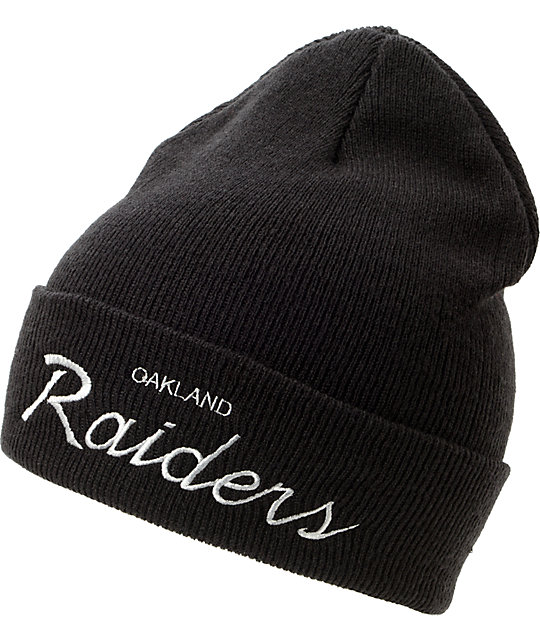 NFL Mitchell and Ness Oakland Raiders Black Cuff Beanie  9c5d69519b9