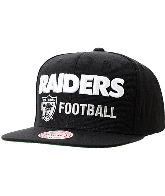 NFL Mitchell and Ness Oakland Raiders Blockers Black Snapback Hat ... 7cf649428520