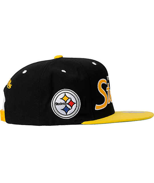 NFL Mitchell and Ness Pittsburgh Steelers Script Snapback Hat