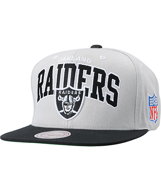 157504ae NFL Mitchell and Ness Raiders Grey Arch Logo Snapback Hat