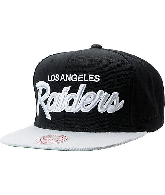 cbe6666e NFL Mitchell and Ness Raiders Script BOTB Black Snapback Hat | Zumiez