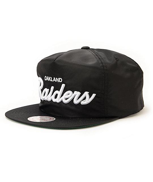 NFL Mitchell and Ness Raiders Script Black Nylon Strapback Hat
