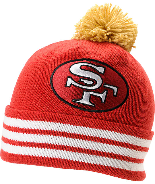 NFL Mitchell and Ness San Francisco 49Ers Pom Red Beanie  d90cbbf14ec