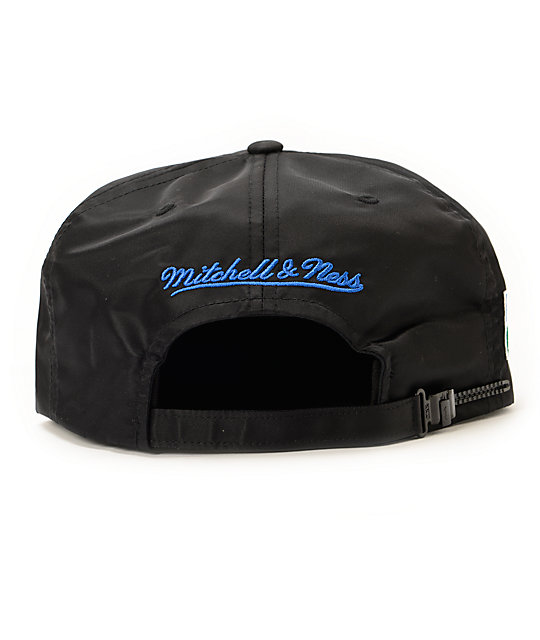 NFL Mitchell and Ness Seahawks Script Black Nylon Strapback Hat