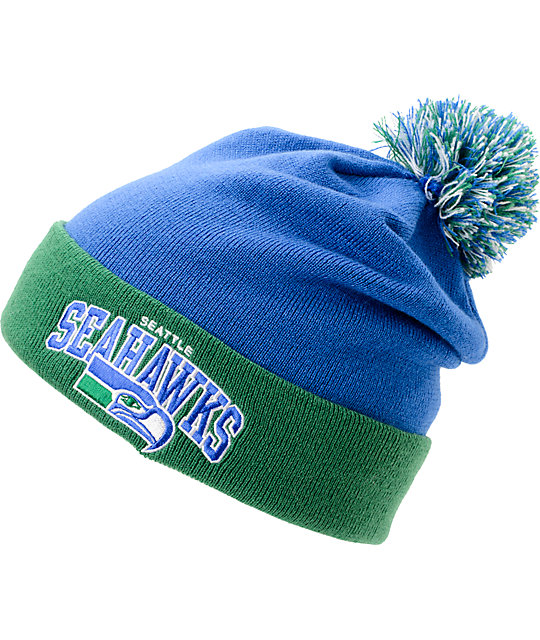 1385258d48f NFL Mitchell and Ness Seattle Seahawks Blue   Green Pom Beanie
