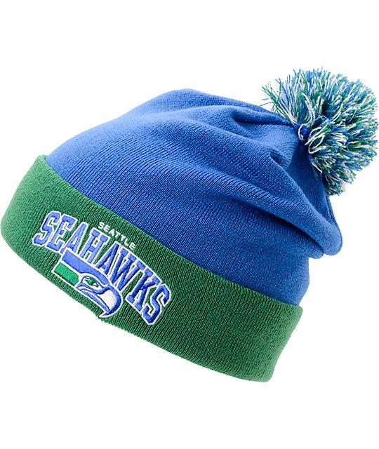 NFL Mitchell and Ness Seattle Seahawks Blue   Green Pom Beanie  d42b5b7f628