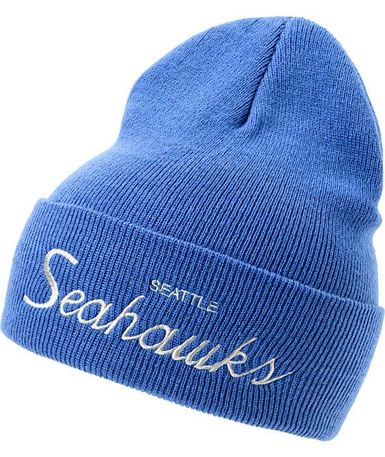 ac1beafac45a6 NFL Mitchell and Ness Seattle Seahawks Blue Cuff Beanie