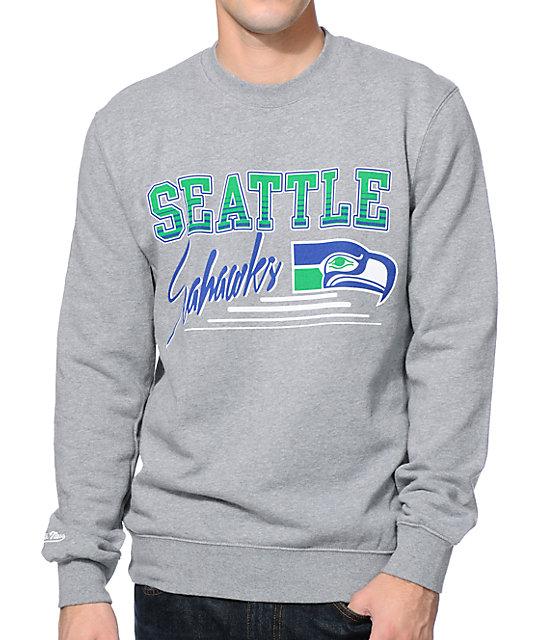 NFL Mitchell and Ness Seattle Seahawks Training Grey Crew Neck Sweatshirt  c5ad50e4a