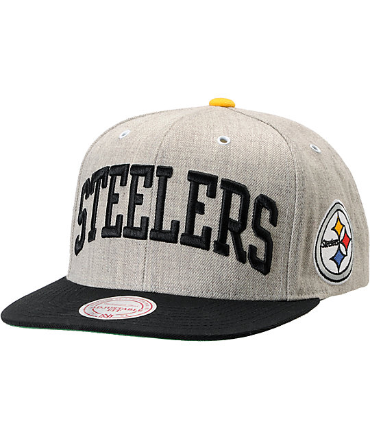 NFL Mitchell and Ness Steelers Heather 2Tone Arch Snapback Hat