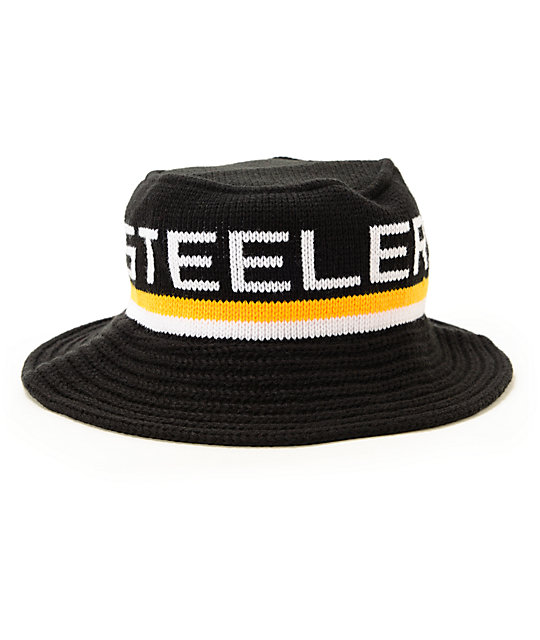 23e80045 NFL Mitchell and Ness Steelers Knit Bucket Hat