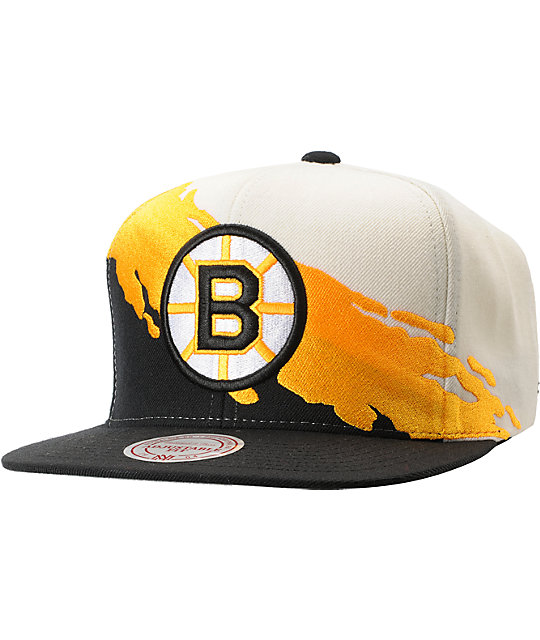 best service aa967 43728 NHL Mitchell and Ness Boston Bruins Paintbrush Snapback Hat ...