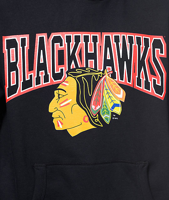 NHL Mitchell and Ness Chicago Blackhawks Black Pullover Hoodie