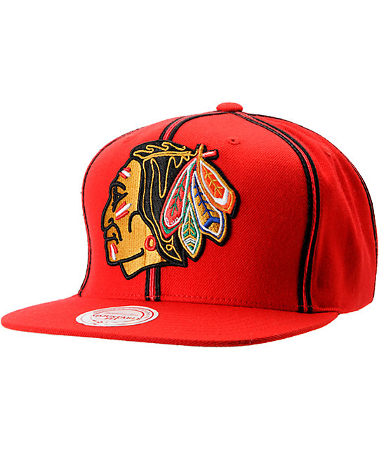 NHL Mitchell and Ness Chicago Blackhawks Double Pinstripe Snapback Hat
