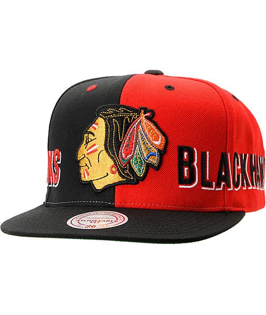 NHL Mitchell and Ness Chicago Blackhawks The Split Snapback Hat  55b9f2bd3b80