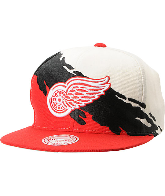 14543ff6ff8 NHL Mitchell and Ness Detroit Red Wings Paintbrush Snapback Hat