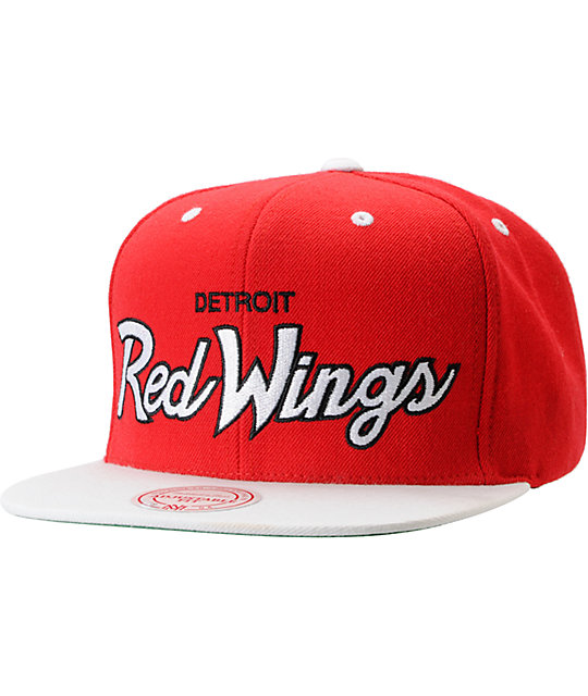 aa6603ce6c9b3 ... official nhl mitchell and ness detroit red wings script snapback hat  c02b9 855fd