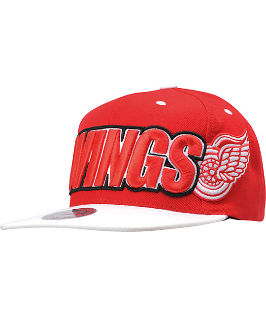 NHL Mitchell and Ness Detroit Red Wings Wordmark Snapback Hat