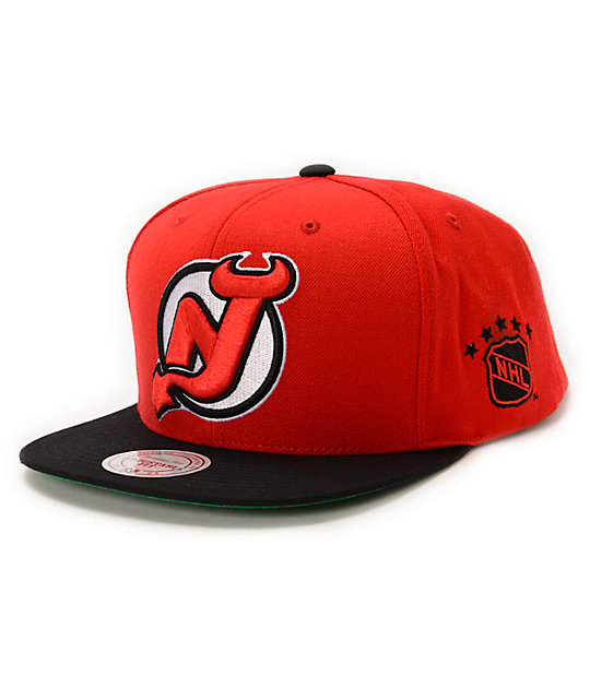 NHL Mitchell and Ness Devils XL Logo 2Tone Red Snapback Hat  f8bf0be0840