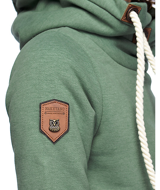 Naketano green sweatshirt hoodie patches size M