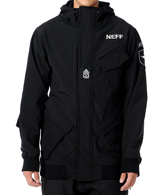 Neff Assault 10K Black Technical Softshell Mens Snowboard Jacket