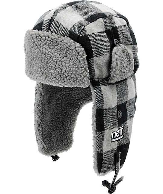 Neff Black & Grey Plaid Bomber Beanie