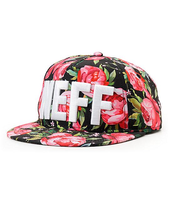 Neff Black Floral Snapback Hat  e96c46f3ee1