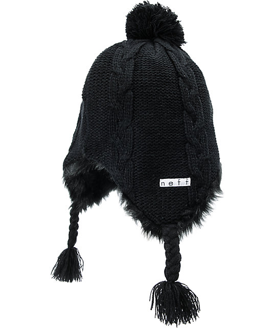 Neff Black Little P Pom Beanie