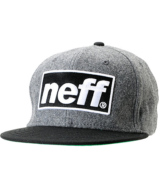 Neff Blok Cap Black Grey Wool Snapback Hat