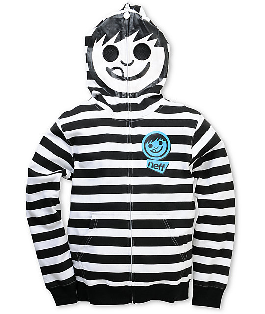 Neff Boys Swirls Black & White Stripe Face Zip Up Hoodie